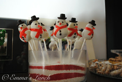 snowman shaped red velvet cake pops