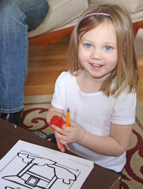Our one mini guest was kept occupied with cherry blossom coloring sheets