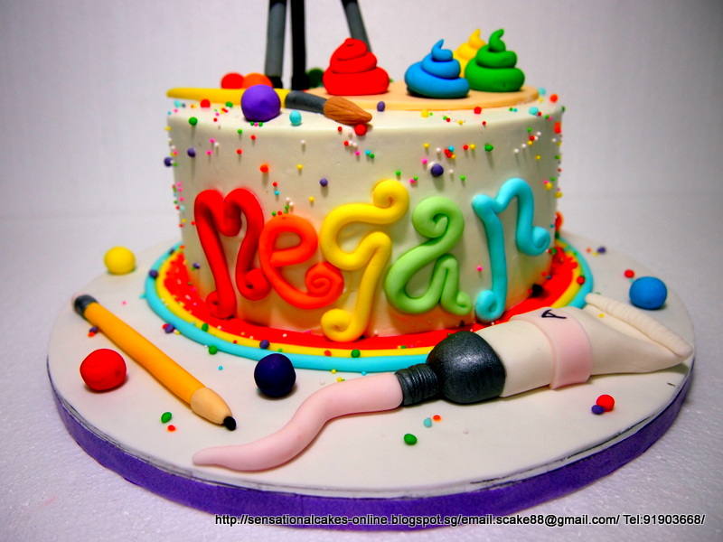 Artist Themed Cake : Cakes2Share Singapore: WATERCOLOR THEME CAKE SINGAPORE ...