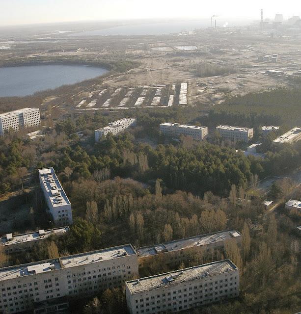 вид сверху на Припять