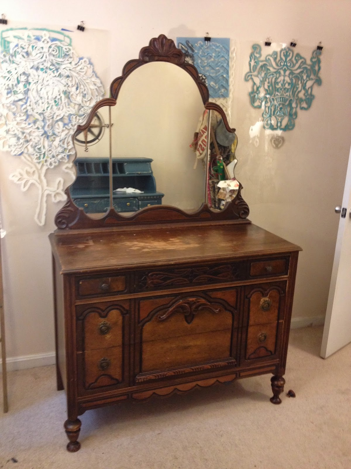 Alchemy Home Graphite And Gold Antique Dresser Makeover