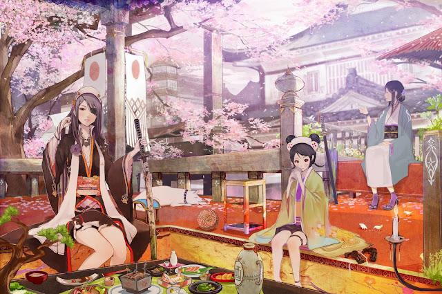 anime girls,anime kimono,samurai