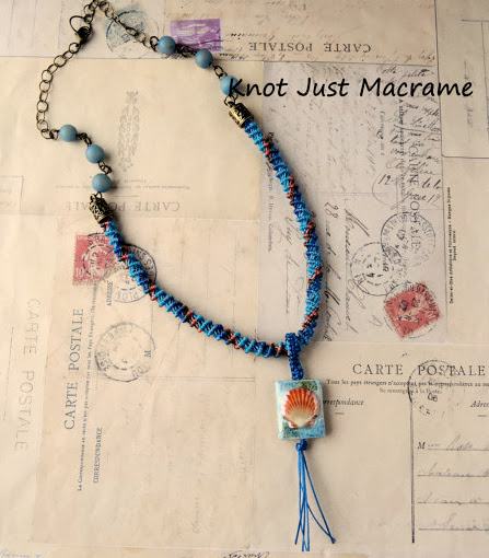 Sea Garden micro macrame spiral necklace by Sherri Stokey of Knot Just Macrame
