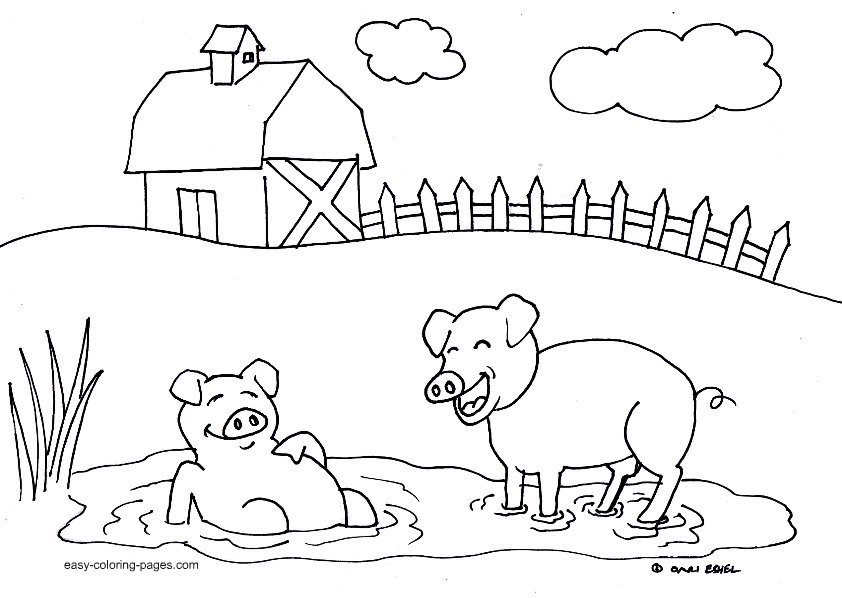 source colored for farm animals - Farm Coloring Pages