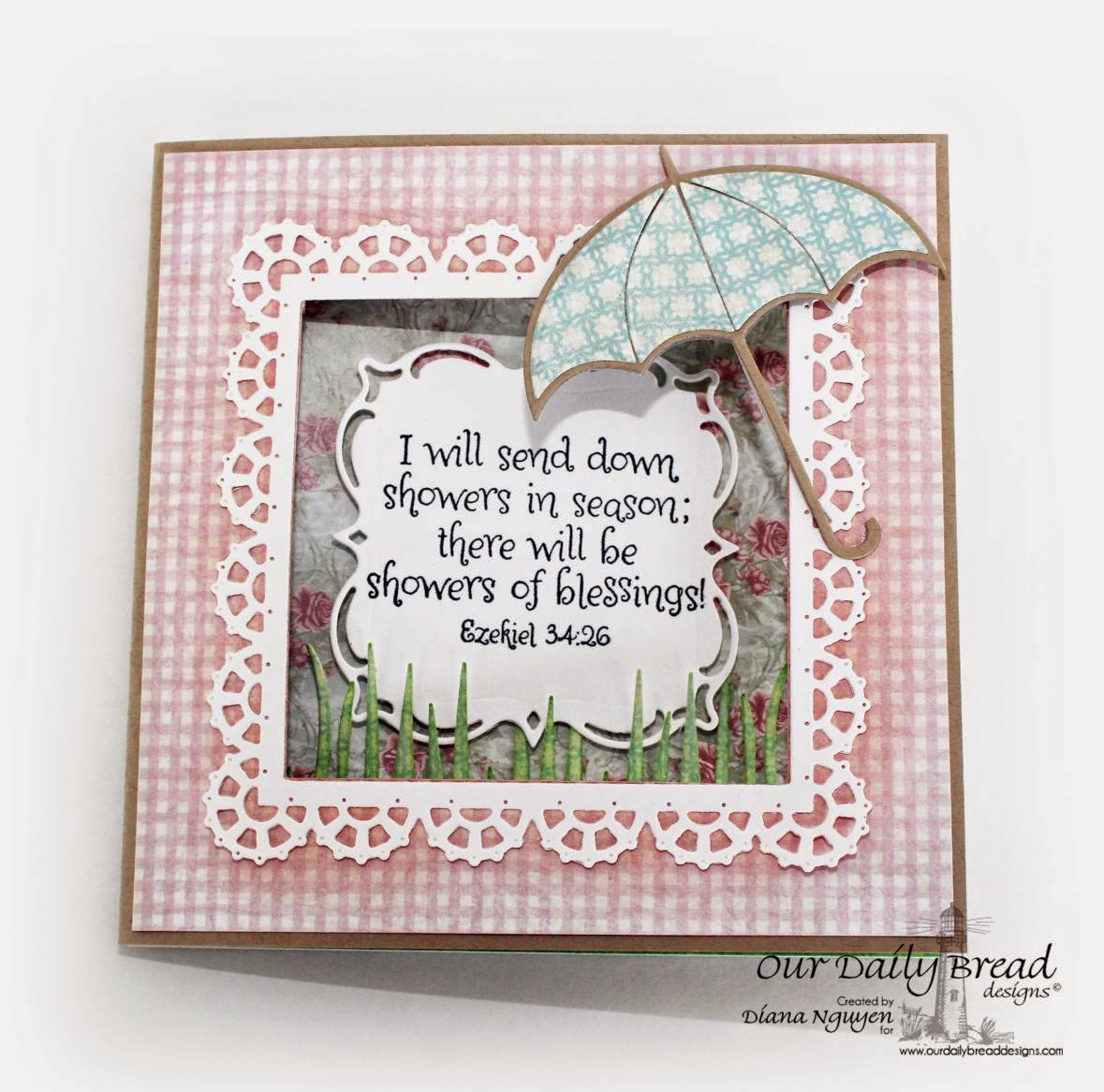 Our Daily Bread Designs, Umbrella Dies, Shabby Rose, April Showers, Layered Lacey Squares, Designed by Diana Nguyen