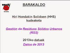 Barakaldoko Hiri Hondakinen Kudeaketaren datuak -2013- Datos gestión Residuos Urbanos De Barakaldo