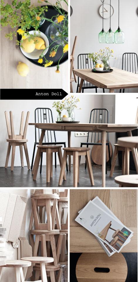 Tisch mit eingearbeiteten Schubladen aus Eiche