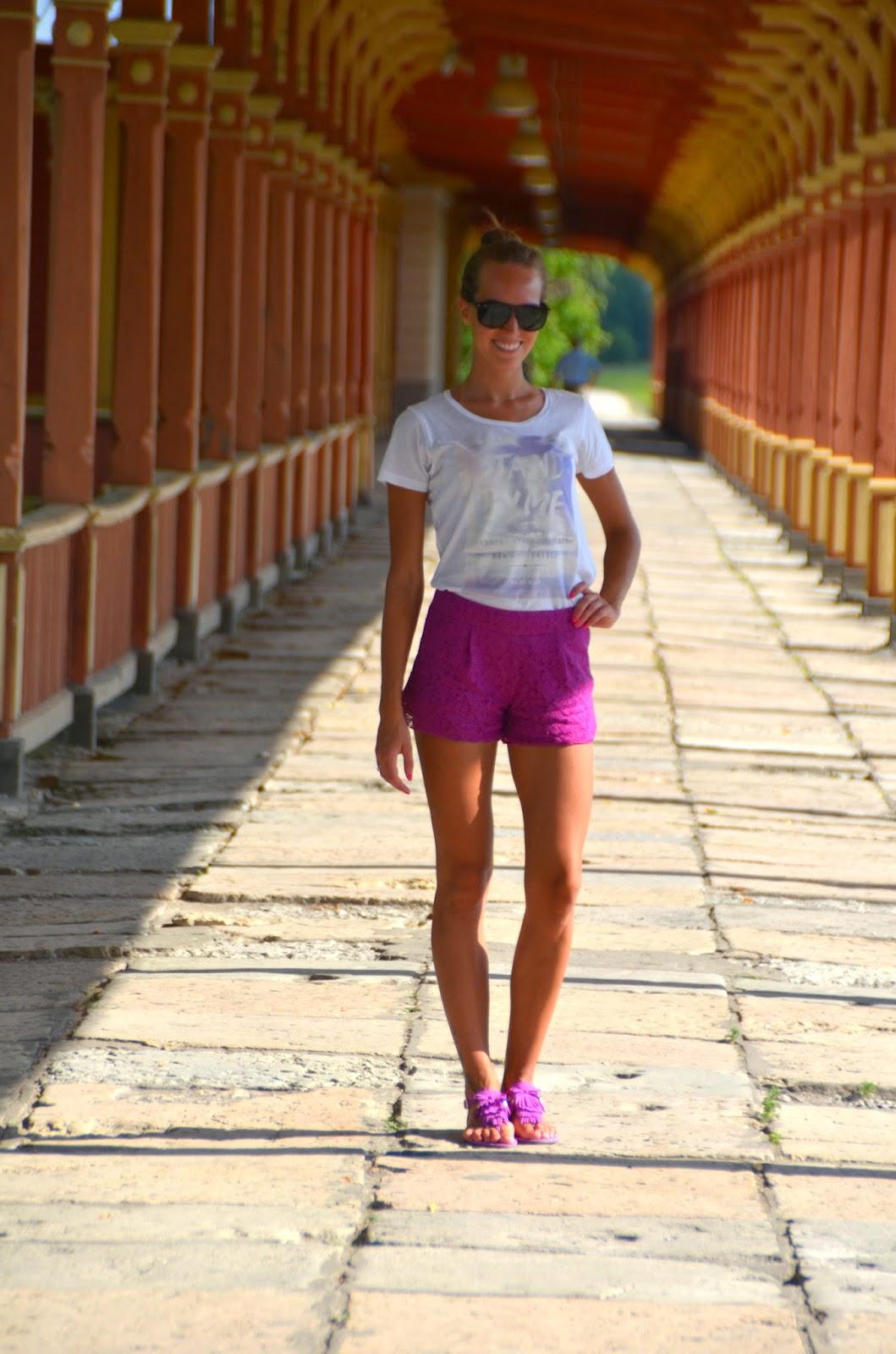 lace shorts asos white top