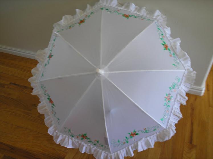 white wedding vine parasol