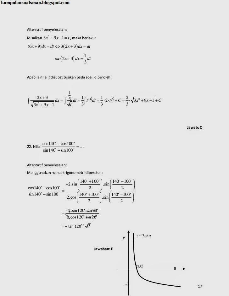 Pembahasan Un Matematika Sma Ipa 2014 Download Soal Sma Ma Gratis