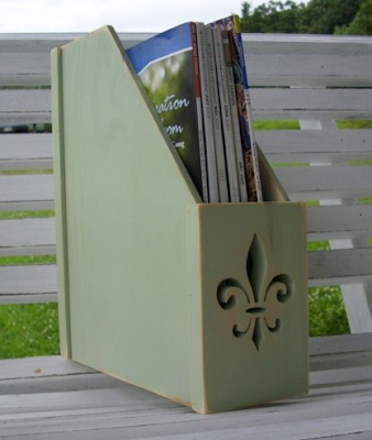 magazine file, green, wood
