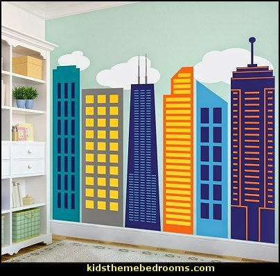 Decorating theme bedrooms maries manor superman for Cityscape bedroom ideas