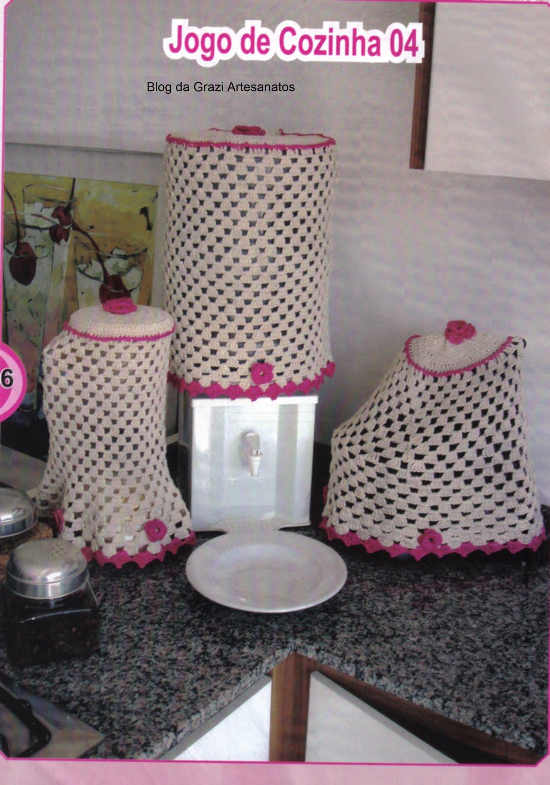 em Trabalhos Manuais: Jogo de Cozinha em Crochê Barbante com Gráfico