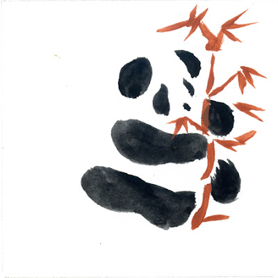 Gouache sketch of panda with bamboo