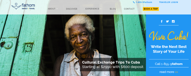 Screenshot from fathom.org, July 7, 2015, announcing travel to Cuba