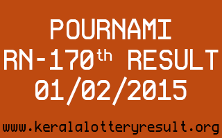 POURNAMI Lottery RN-170 Result 01-02-2015