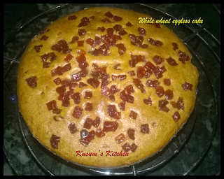 Whole wheat eggless sponge cake recipe in microwave/ Tutti frutti cake recipe