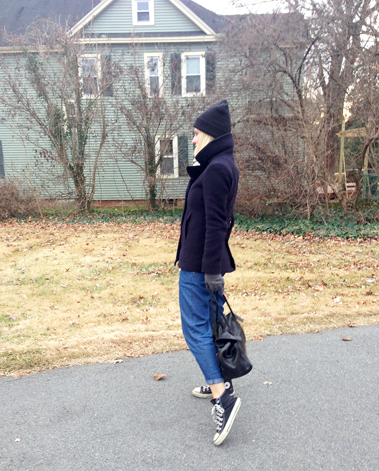 Fashion Over Reason in the J.Crew Majesty navy pea coat, Converse black Chuck Taylor, American Apparel beanie