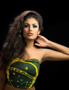 Wearing Brazilian flag Bangladeshi hot model Trino