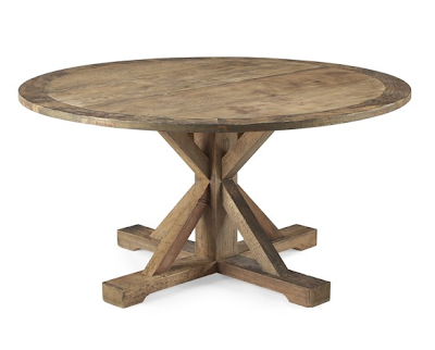 Distressed Elm Belgian Trestle Round Dining Table Decor Look Alikes