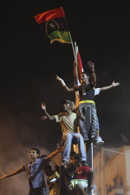 libyan rebels celebrate victory