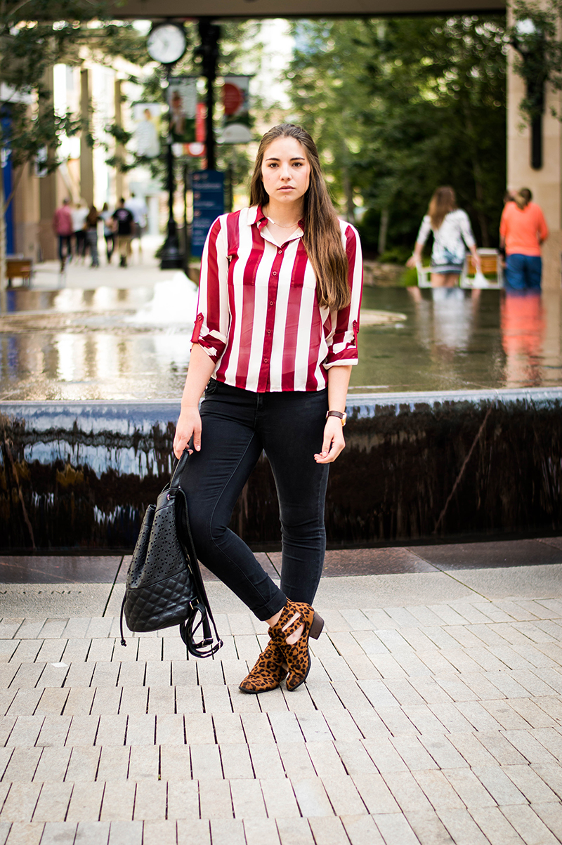 Red striped shirt outfit