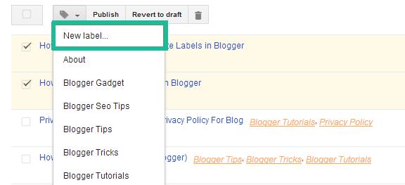 Add New Label in Blogger