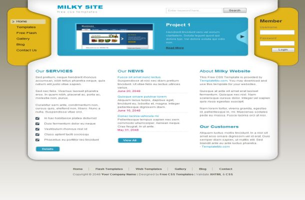 Free Business Yellow Blue CSS Website Template