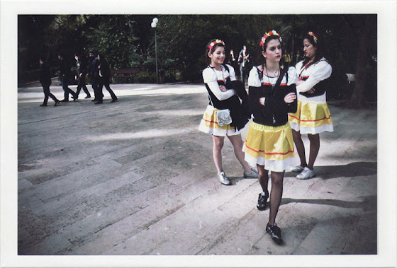 dirty photos - Once - street photo of three funny girls in carnaval