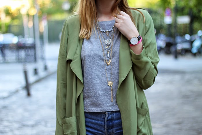 shorts, top and trench