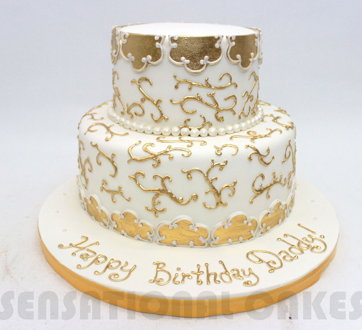 The Sensational Cakes: GOLDEN THEME HAND PAINTED ROYAL GRAND CAKE ...