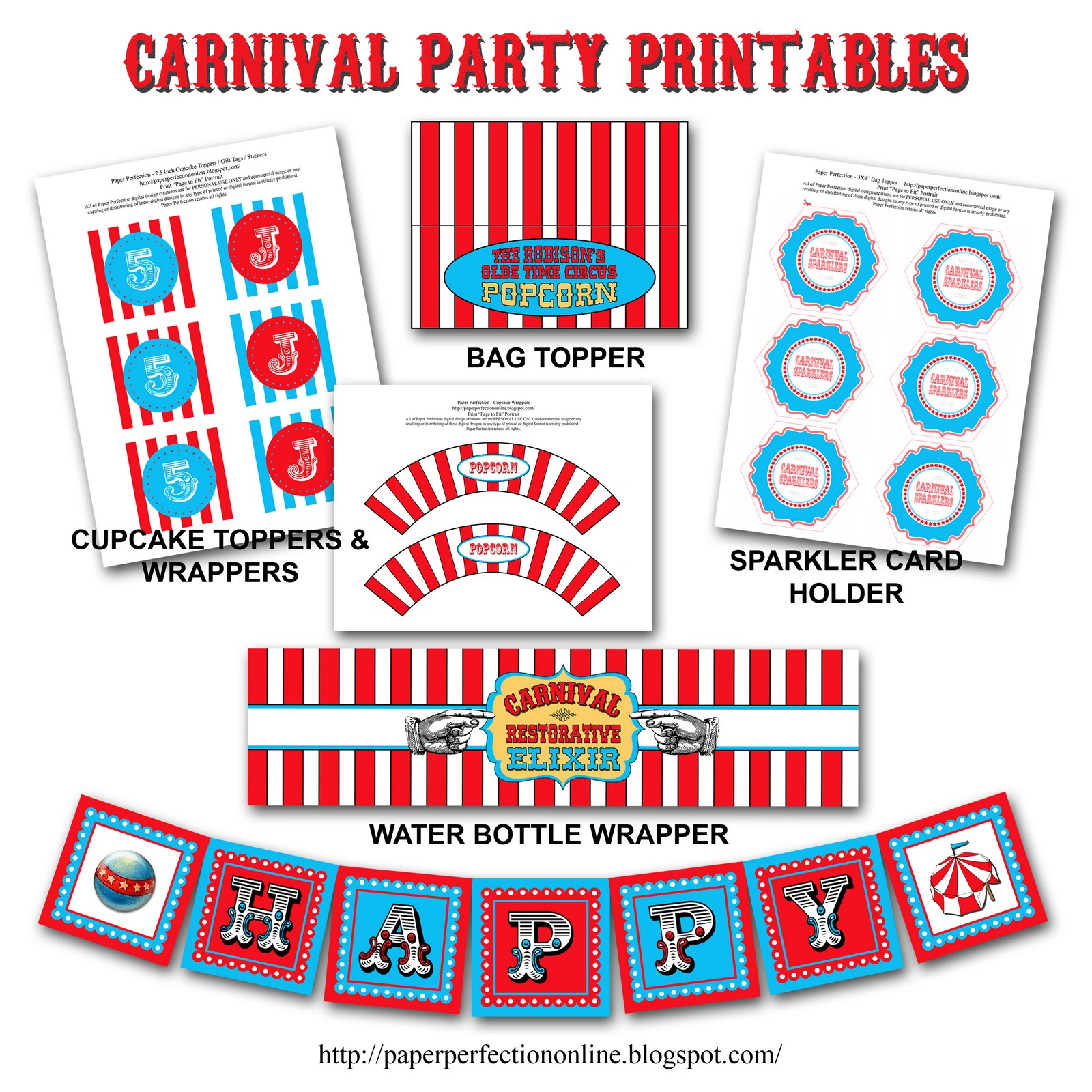 Paper perfection carnival circus birthday party printables for Circus printables
