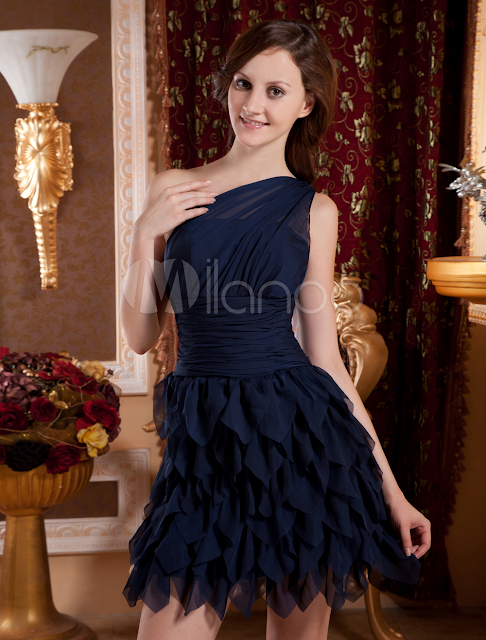 Royal Blue One-Shoulder Mini Length Chiffon Woman's Cocktail Dress