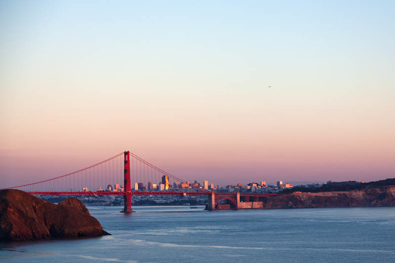 The Golden Gate Bridge at sunset as seen from Marin Headlands near San Francisco