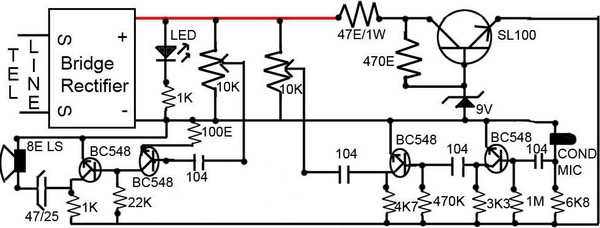 diagram ingram  easy loudspeaker circuit for telephone
