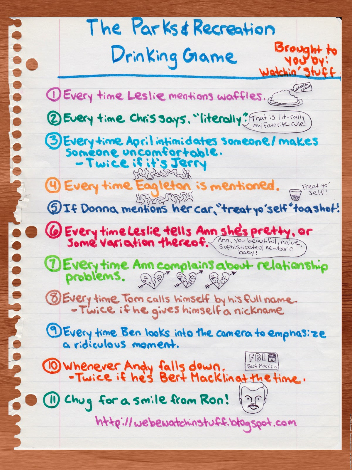 Parks And Rec Drinking Game