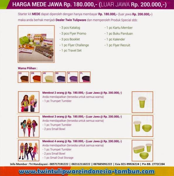 Harga Paket MEDE Tulipware Baru 2014