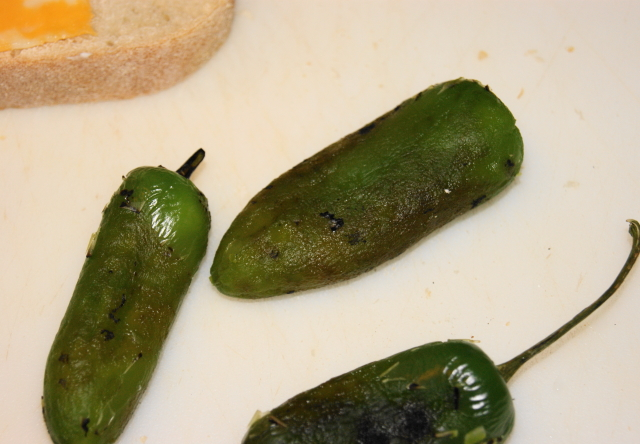 Roasting Jalapenos for Jalapeno Popper Grilled Cheese