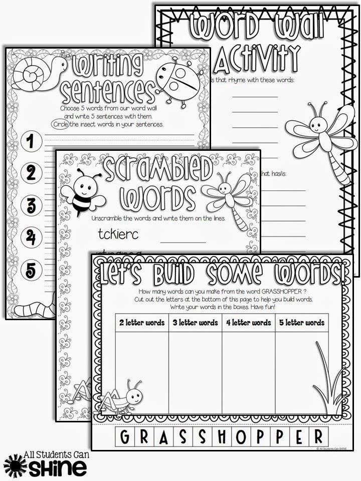 insects literacy activities