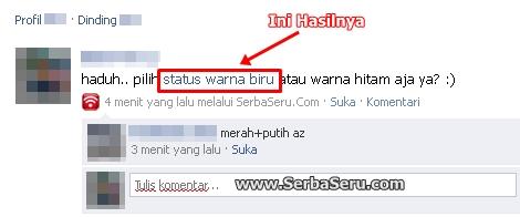 buat status biru di facebook