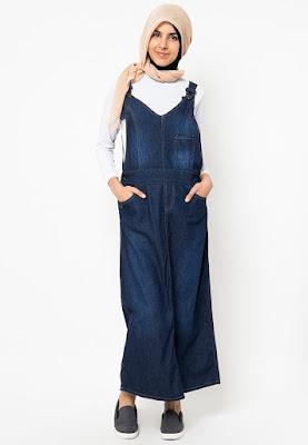 Contoh Baju Kodok Overall Bahan Jeans Denim Muslimah