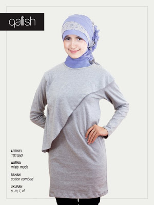 Produk Qallish Kaos Cardigan Koleksi Gamis Muslimah Misty Muda
