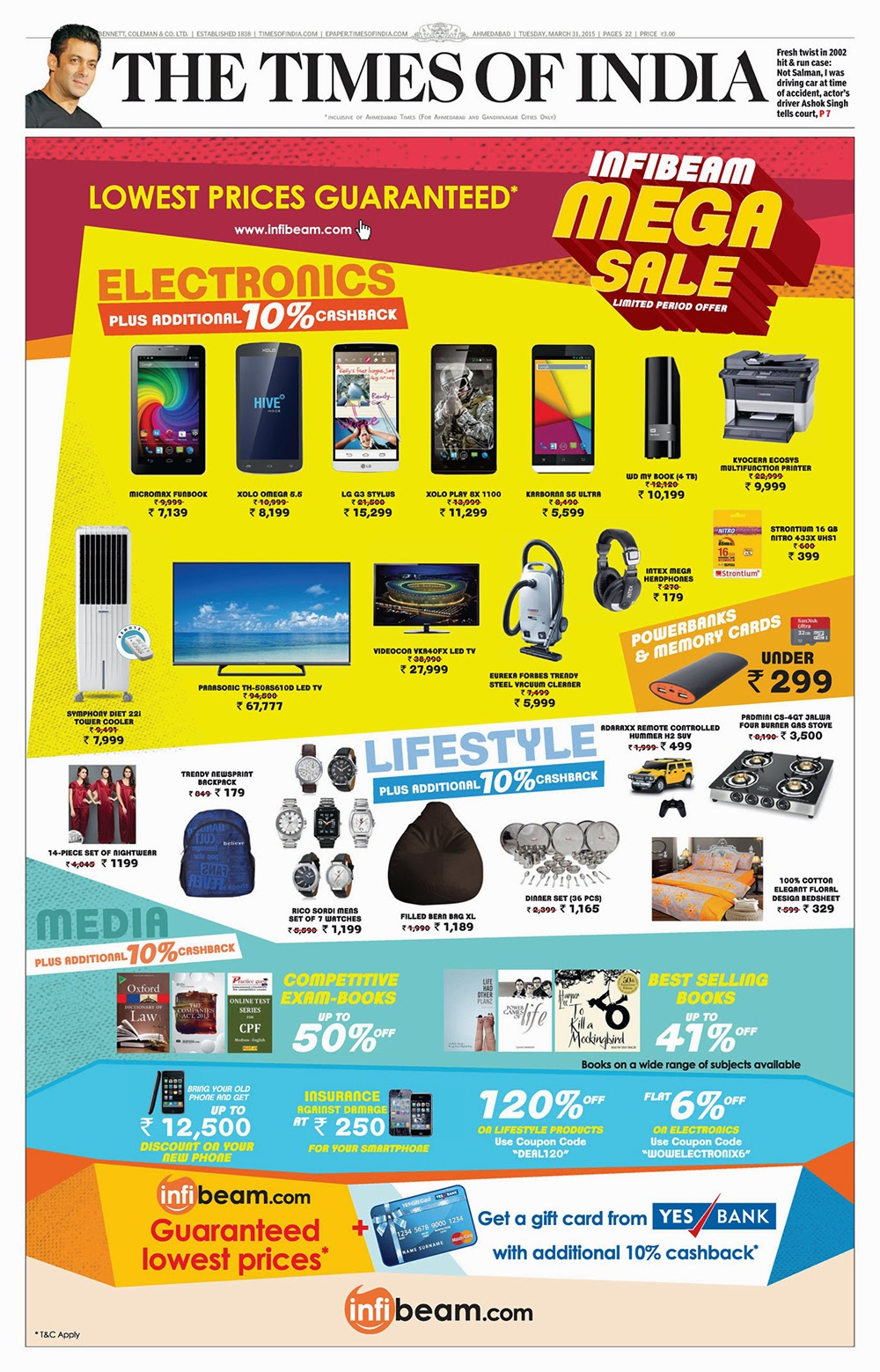 Infibeam Mega Sale Advertisement on Times of India Front Page