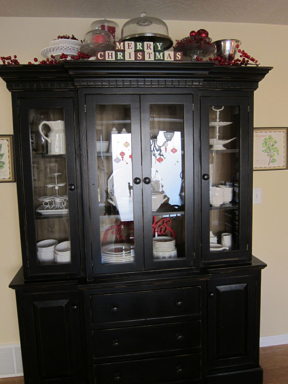 christmas china cabinet decorating ideas home design 2017