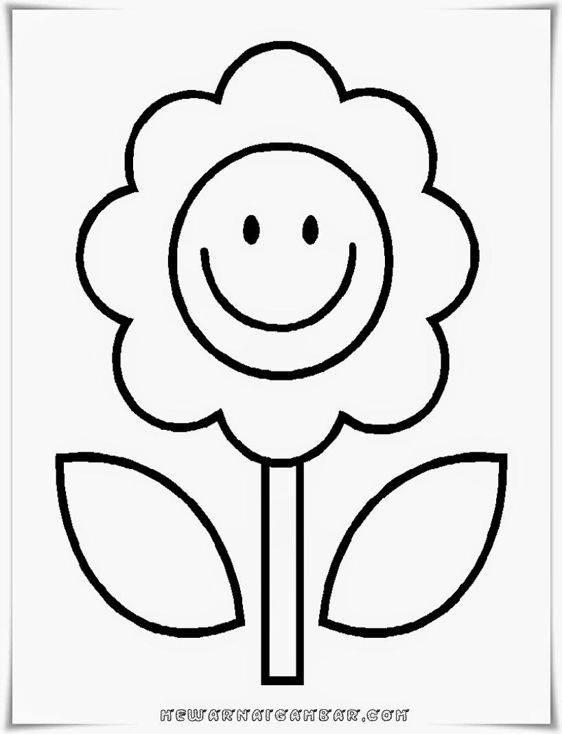 Gambar Bunga Sederhana Untuk Mewarnai