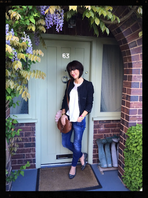 My Midlife Fashion, Boden, Clarks, Zara, Saddle Bag, Sparkles, Crystals, Boucle, Skinny Jeans