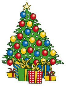 Christmas tree decorated with red,yellow,blue baubles and Christmas star clip art picture