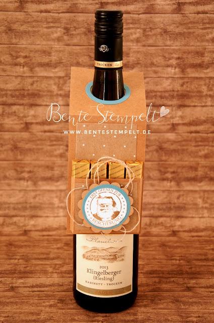 Tutorial Anleitung Stampin' Up! Merci Schokoladde Schokoriegel Flasche Wein Anhänger Geschenk
