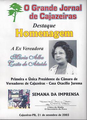 A PRIMEIRA PRESIDENTE DA CÂMARA MUNICIPAL DE CAJAZEIRAS  ALBA COSTA
