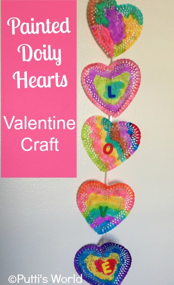 Valentine Craft: Painted Doily Hearts